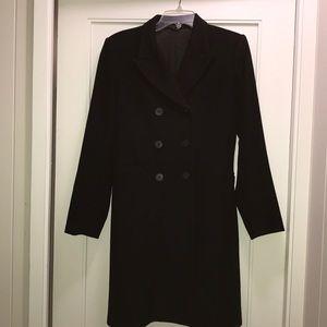 Theory long pea coat in black wool blend